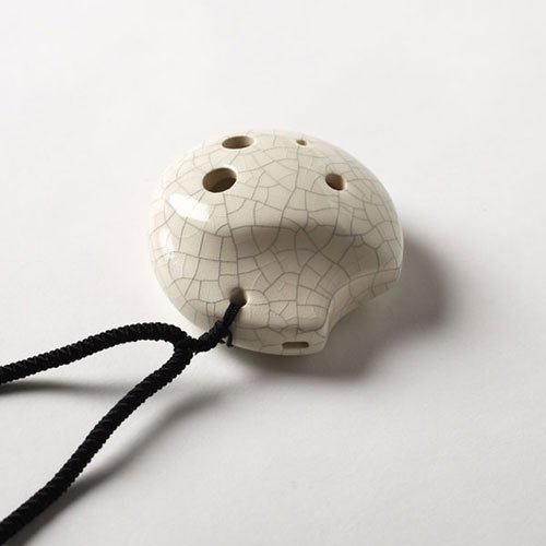 (6 Hole Tai Chi Pendant Ocarina- Ceramic - White Crackle Finish- Soprano G - Focalink -Perfect Travel Companion - Easy to Play - Free Tutorial & Songbook Included)
