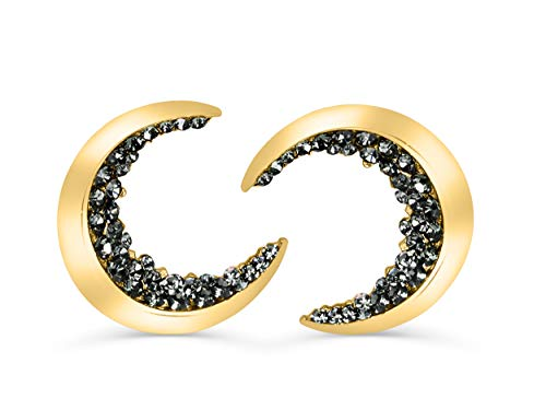 20G 14K Gold Plated Black Cz Boho Gypsy Planet Half Sun Crescent Sailor Luna Moon Ear Studs Piercing Earrings (Crescent 14k Gold Pin)