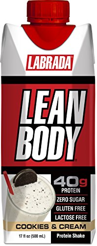 LABRADA - Lean Body Ready To Drink Protein Shake,Convenient On-The-Go Meal Replacement Shake,40 grams of Protein –Zero Sugar, Lactose & Gluten Free,Cookies and Cream(Pack of 12) (Muscle Building Milkshake)