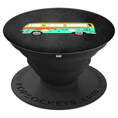 Vintage Hippy Peace Sign On Cute Retro 60s 70s Hippie Van - PopSockets Grip and Stand for Phones and Tablets (Hippy Van)