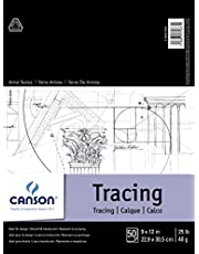 Canson Foundation Tracing Paper Pad for Ink, Pencil and Markers, Fold Over, 25 Pound, 9 x 12 Inch, 50 Sheets