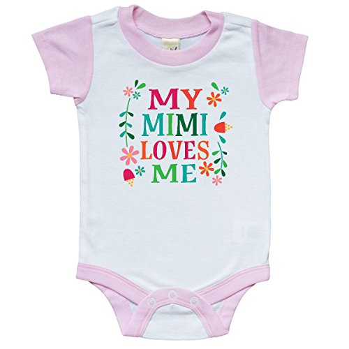Inktastic - My Mimi Loves Me Girls Outfit Infant Creeper 6 Months White and Pink -