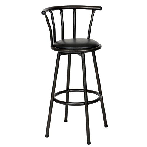 Roundhill Furniture Spendy Swivel Metal Barstool, Powder Coated Black
