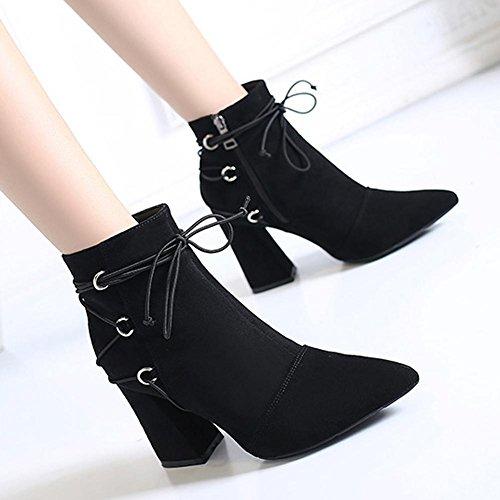 cremallera Las tobillo zapatos de alto zapatos tacón gruesos de BLACK 39 botas cordones cálido 35 de mujeres BROWN peluche piel de corto grTxfg