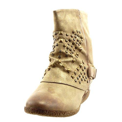 Sopily - damen Mode Schuhe Stiefeletten Hohe Nieten - besetzt Schleife - Khaki