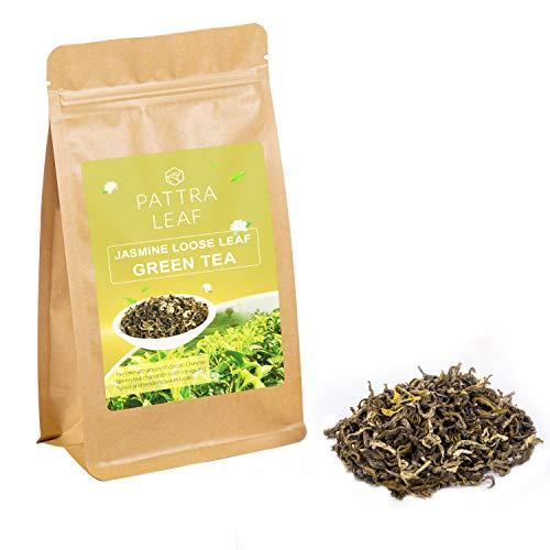 Jasmine Green Tea Loose Leaf - Hand Picked & Processed Organic Tea Leaves with Fragrant Jasmine Blossoms Flavor for Hot Tea or Iced Tea - Food Grade Resealable Bag, 4oz
