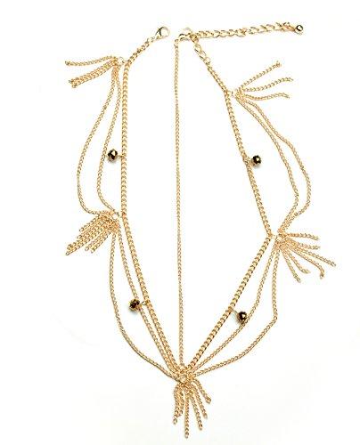 Bijou de tête de ton or à 2 chaînes accentuées de billes