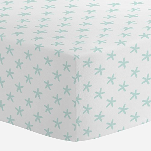 Carousel Designs Icy Mint Starfish Crib Sheet - Organic 100%