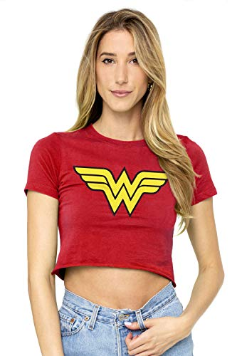 Wonder Woman Logo Juniors Teen Girls Crop Top T Shirt & Stickers (Small) Red ()