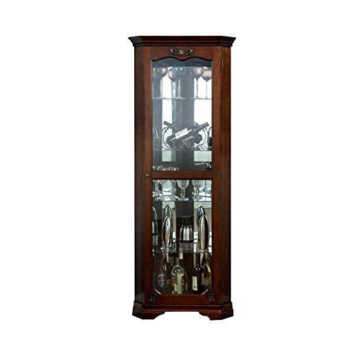 Furniture of America Lennie Traditional Wood Corner Curio Cabinet in Brown