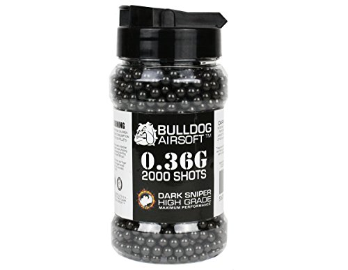 BULLDOG AIRSOFT 0.36G 2000 DARK SNIPER BLACK HIGH GRADE BB PELLETS BULLETS