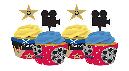 Reel Hollywood Cupcake Wrappers with Toppers