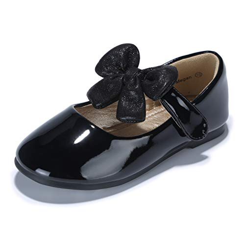 - PANDANINJIA Toddler/Little Kid Megan Flower Girl Dress Shoes School Uniform Black Mary Jane Ballet Flats