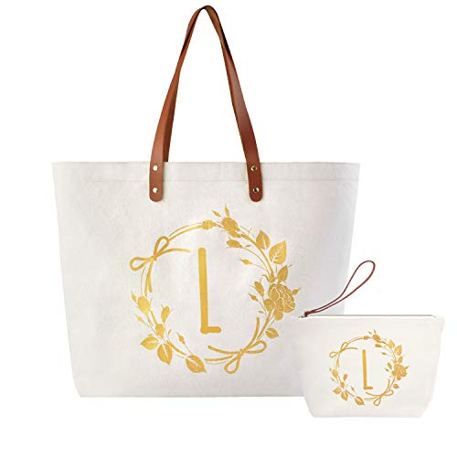 ElegantPark L Initial Monogram Personalized Party Gift Shoulder Tote and Travel Makeup Cosmetic Bag Zipper Canvas 2 Pcs -