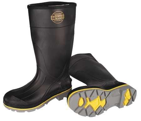 Knee Boot, Mn, 13, Stl Toe, Blk/Ylw/Gry, - Black Toe Stl Boots