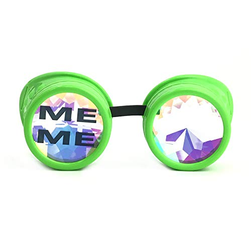 UMBRELLALABORATORY 3D Rainbow Prism Kaleidoscope Rave Glasses, Diffraction Steampunk Funny Goggles, Neon Green Meme Costume Accessories - Headband - Necklace]()