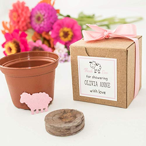 Personalized Pink Lamb Baby Shower Favors | Set of 12 Mini Flower Pot Garden Gift Sets | Girl or Boy Baby Shower Favors | Custom Colors for Gender Revealing Baby Showers Available