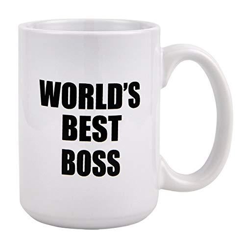 Funny Coffee Mug, World's Best Boss Coffee Tea Cup, Funny Mug Novelty Coffee Mug Gift for Office Men Boss Friends Birthday (World's Best Boss Mug The Office)