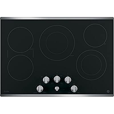 "GE Profile PP7030SJSS 30"" Built in Electric Cooktop with 5 Radiant Cooking Elements Front Center Control Knobs Hot Surface Indicator Keep-Warm Setting and Melt Setting in Black with Stainless Steel"