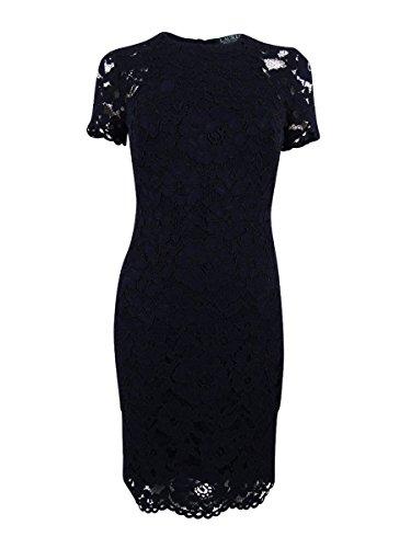 RALPH LAUREN Lauren Women's Lace Sheath Dress (10, Navy) (Lauren Spring Lace Ralph)