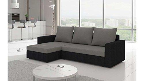 divano ad angolo grigio e nero per soggiorno moderno.