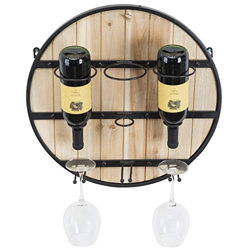 (Excello Global Products Wooden Wall Mounted Wine Rack: Wine Bottle Holder & Wine Glass Holder/Holds 3 Bottle of Wine and 3 Glasses. Decorative Wine Barrel Wall Decor. Perfect Home & Kitchen Decor)