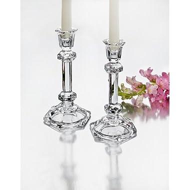 Octagon Crystal Candlesticks - Set Of 2