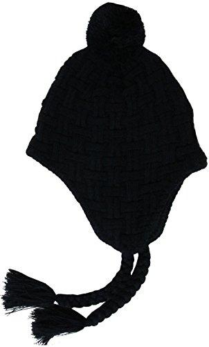 KBW-509 SOLID BLK Tassel Beanie Inner Fleece Thermal Skully Hat Cap