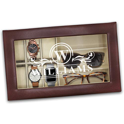 Personalized Watch and Sunglasses Box - Custom Engraved Watch and Eyeglass Organizer Case -