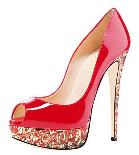 für Open Party Damen Heels Hochzeitskleid Plateau Stilvolle Peep High Bunte Sandalen Damen Rot SexyPrey Toe qPRF5f