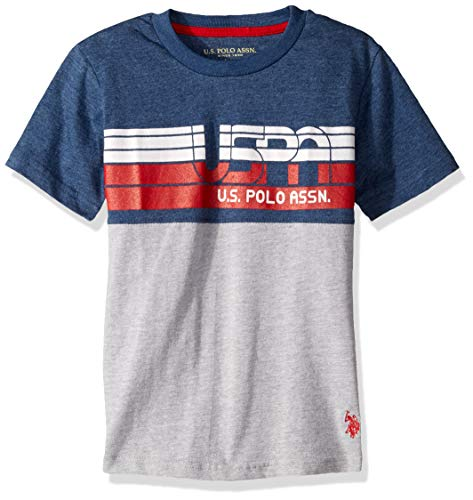 - U.S. Polo Assn. Boys' Little Short Sleeve Graphic Print T-Shirt, Rinse Blue Heather, 7
