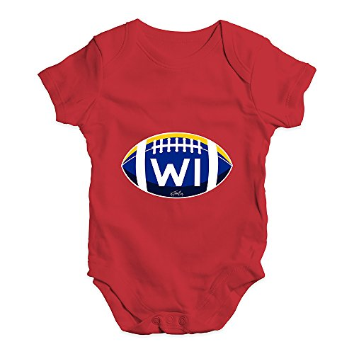 TWISTED ENVY Funny Infant Baby Bodysuit Onesie WI Wisconsin State Football Red 18-24 Months