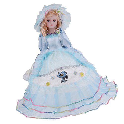 (Fityle Elegant Handcrafted Vintage Winter Porcelain Girls Dolls With Display Stand Blue)