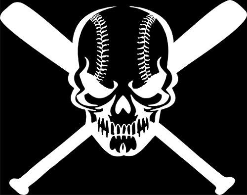 (Baseball Skull and Bats Vinyl Decal Sticker | Cars Trucks Vans Walls Laptops Cups | White | 7 X 5.5 inches | KCD996)