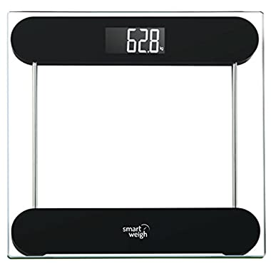 Smart Weigh Precision Digital Vanity / Bathroom Scale,  Smart Step-On  Technology, Tempered Glass Platform and Large Backlight Display