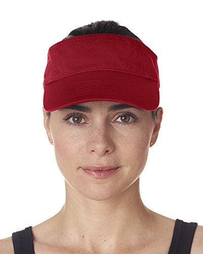 UltraClub 8103 Solid Visor Red One Size ()