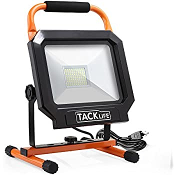 LED Work Light, Tacklife 5000LM 50W Work Light, IP65 Waterproof Flood Lights, 5000K Daylight White, Stand Working Lights for Garage, Garden, Lawn and Yard - LWL3B