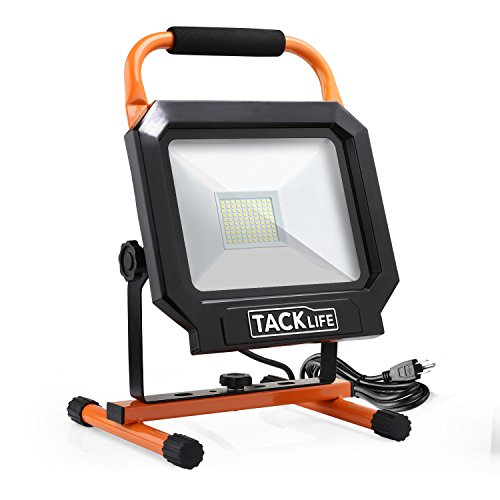 Tacklife 5000LM 50W Warm LED Work Light [400W Equivalent], The Best Heat Dissipation, IP65 Waterproof Flood Lights, 360/270 Degree Adjustable Lighting Angles - LWL3B