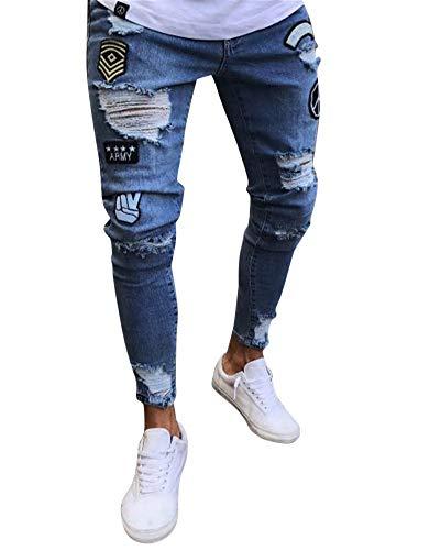 Pantalones Vaqueros Hombres Rotos Pitillo Originales Slim Fit Skinny Pantalones Casuales Elasticos Agujero Pantalón #1890