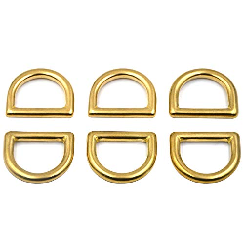 Okones 6Pcs,1'' (25mm) Inner Width,Solid Brass D Ring for Straps Bags Purses Belting Leathercarft (1'' 25mm, BRA0071) ()