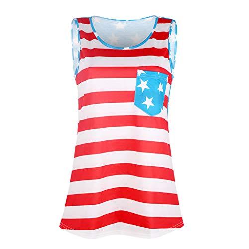 (JustWin Novel Women Fashion Stripe America Flag Printed Leisure Sleeveless Beach Party Tank Tops Vest)