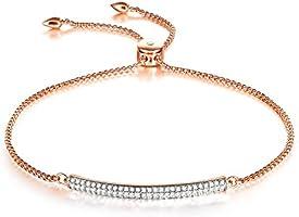 Thehorae Bangle Bracelets for Women Mom Adjustable Rose Gold Bracelet Made with Swarovski Crystals, Birthday Christmas...