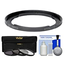 Bower FA-DC67A Ring Adapter Tube for Canon PowerShot SX30 IS & SX40 HS Digital Camera (67mm) with 3 (UV/CPL/FLD) Filters + Cleaning Kit
