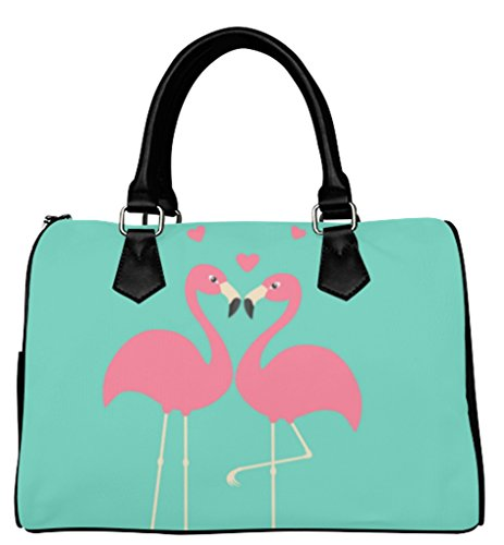 Fashion Ladies Girl Barrel Type Handbags Top-Handle Bags with Two Pink Flamingo Couple In Love Pattern by Psylocke