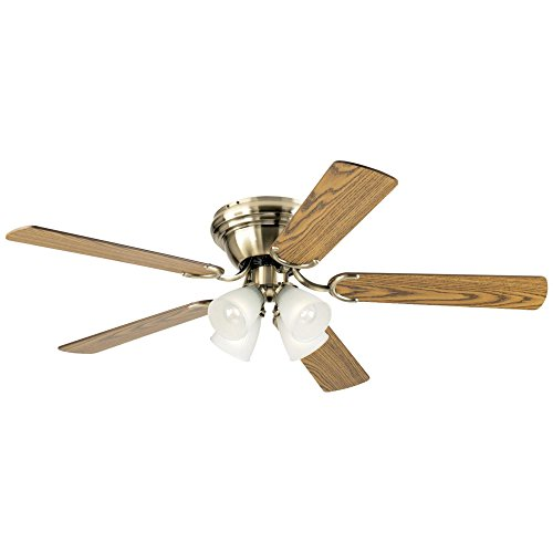 Westinghouse Lighting 7216300 Contempra IV 52-Inch Antique Brass Indoor Ceiling Fan, Light Kit with Frosted Ribbed Glass, Includes Bulbs