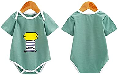 pinnacleT1 Baby Summer Bodysuit Infant Girl Boys Short Sleeve Printing Cotton Romper Climbing Jumpsuit