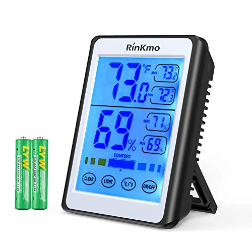 Touch Sensitive Lcd - RINKMO Digital Hygrometer Indoor Thermometer Accurate Humidity and Temperature Indicator, Touch LCD Backlight Humidity Monitor, Wall Mount & Desktop Hygrometer