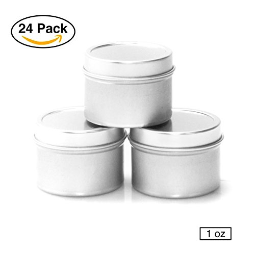Mimi Pack 6 oz Round Tin Cans Deep Solid Top Lid Steel Containers For Spices, Balms, Gels, Candles, Gifts, Storage 24 Pack (Silver) (Plastic Tin)