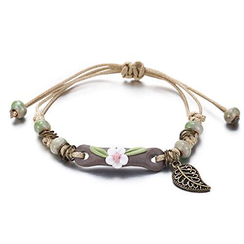17mile Natural Stone Braided Rope Flower Leaf Handmade Bracelet Waterproof Wrap Boho Bead Charm Tassel Bracelet for Women and Girls