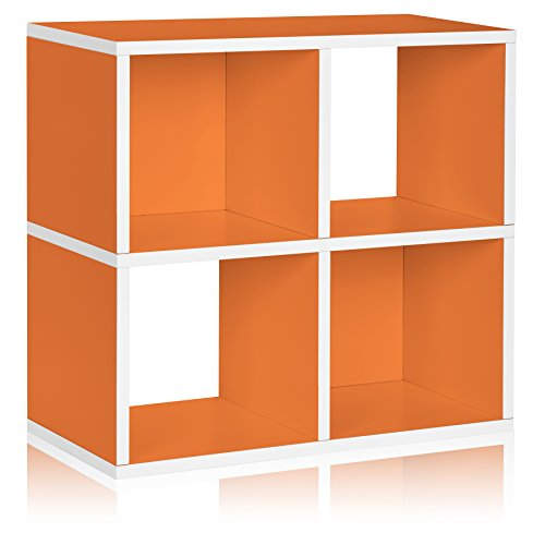 [Way Basics Eco 4 Cubby Bookcase, Stackable Organizer and Storage Shelf, Orange (made from sustainable non-toxic zBoard paperboard)] (Way Basics Cube)